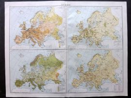 Gross 1920 Large Map. Europe - Population, Manufactures, Vegetation, Minerals